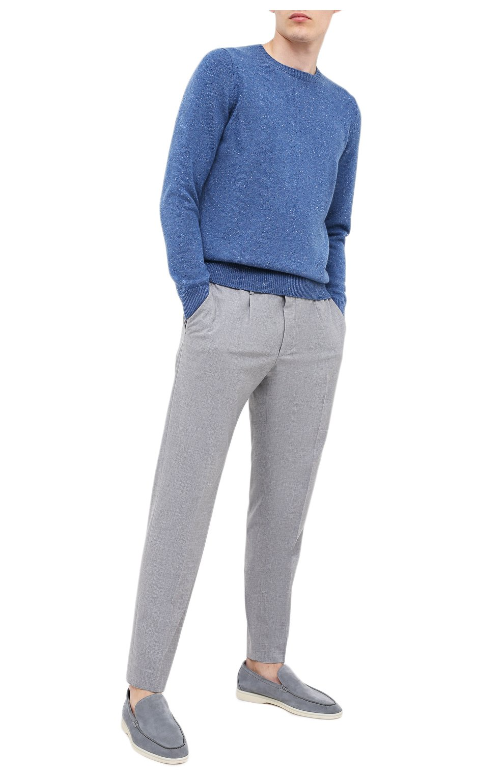 Мужской кашемировый свитер FEDELI синего цвета, арт. 3UI08095 | Фото 2 (Материал внешний: Шерсть; Рукава: Длинные; Принт: Без принта; Длина (для топов): Стандартные)