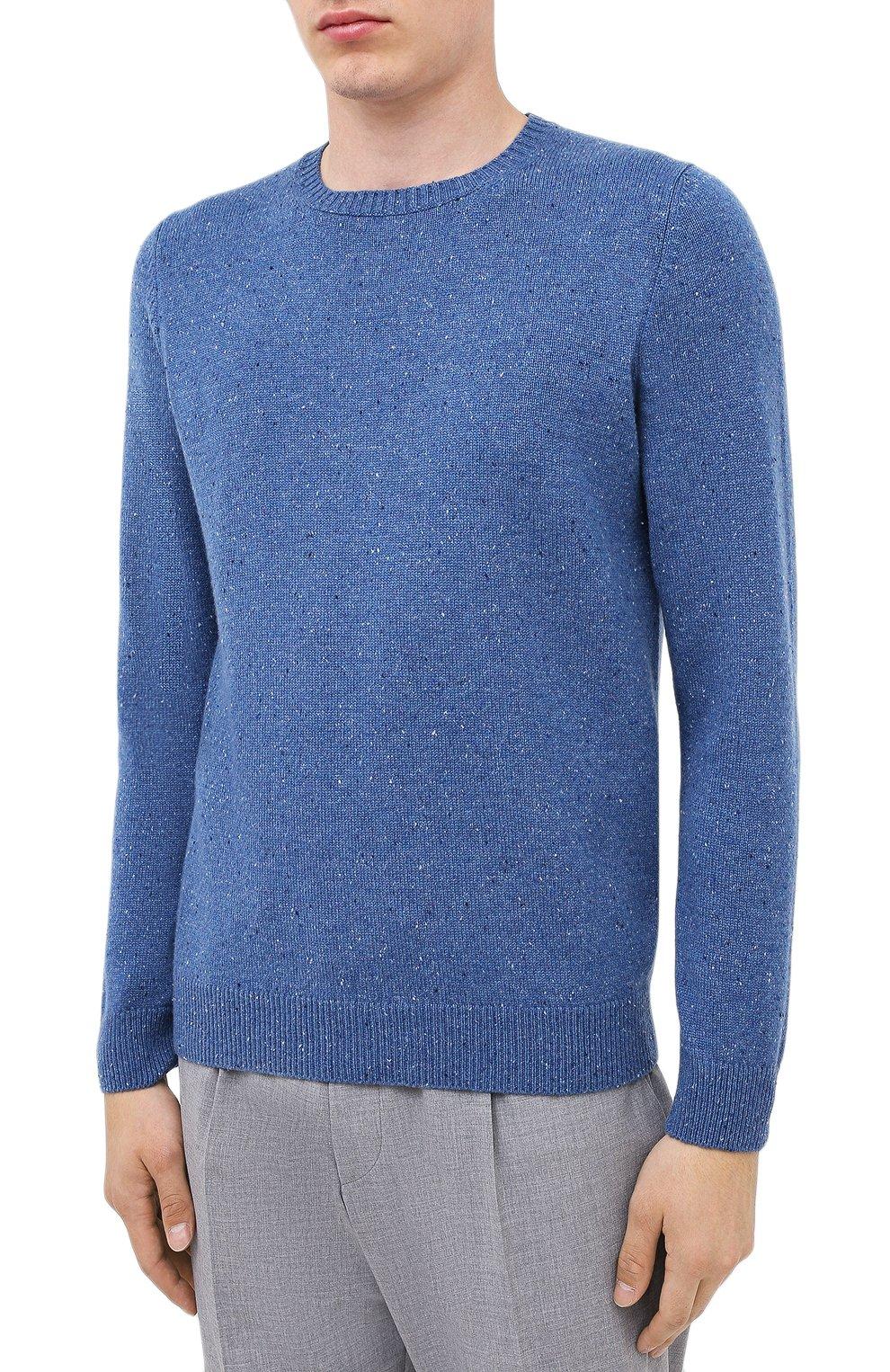 Мужской кашемировый свитер FEDELI синего цвета, арт. 3UI08095 | Фото 3 (Материал внешний: Шерсть; Рукава: Длинные; Принт: Без принта; Длина (для топов): Стандартные)