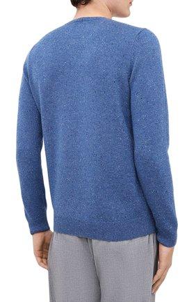 Мужской кашемировый свитер FEDELI синего цвета, арт. 3UI08095 | Фото 4 (Материал внешний: Шерсть; Рукава: Длинные; Принт: Без принта; Длина (для топов): Стандартные)