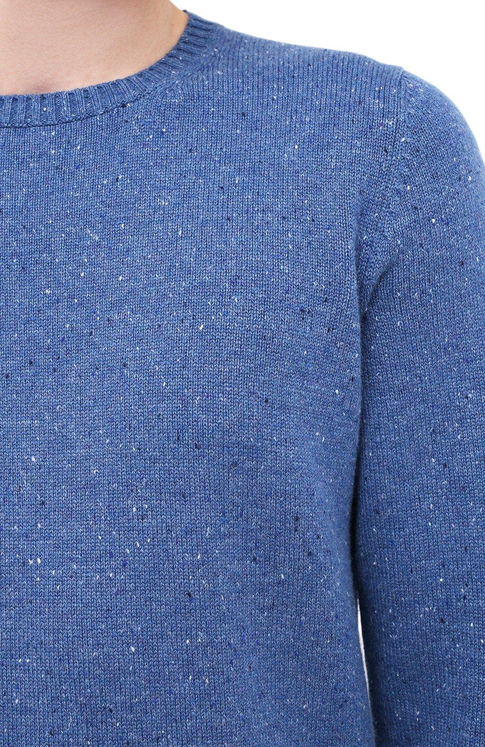 Мужской кашемировый свитер FEDELI синего цвета, арт. 3UI08095 | Фото 5 (Материал внешний: Шерсть; Рукава: Длинные; Принт: Без принта; Длина (для топов): Стандартные)