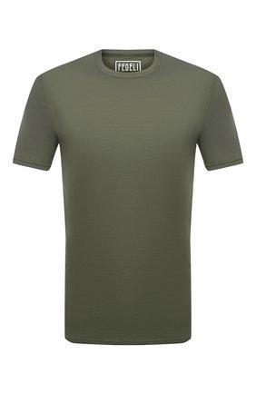 Мужская хлопковая футболка FEDELI хаки цвета, арт. 3UID0113 | Фото 1