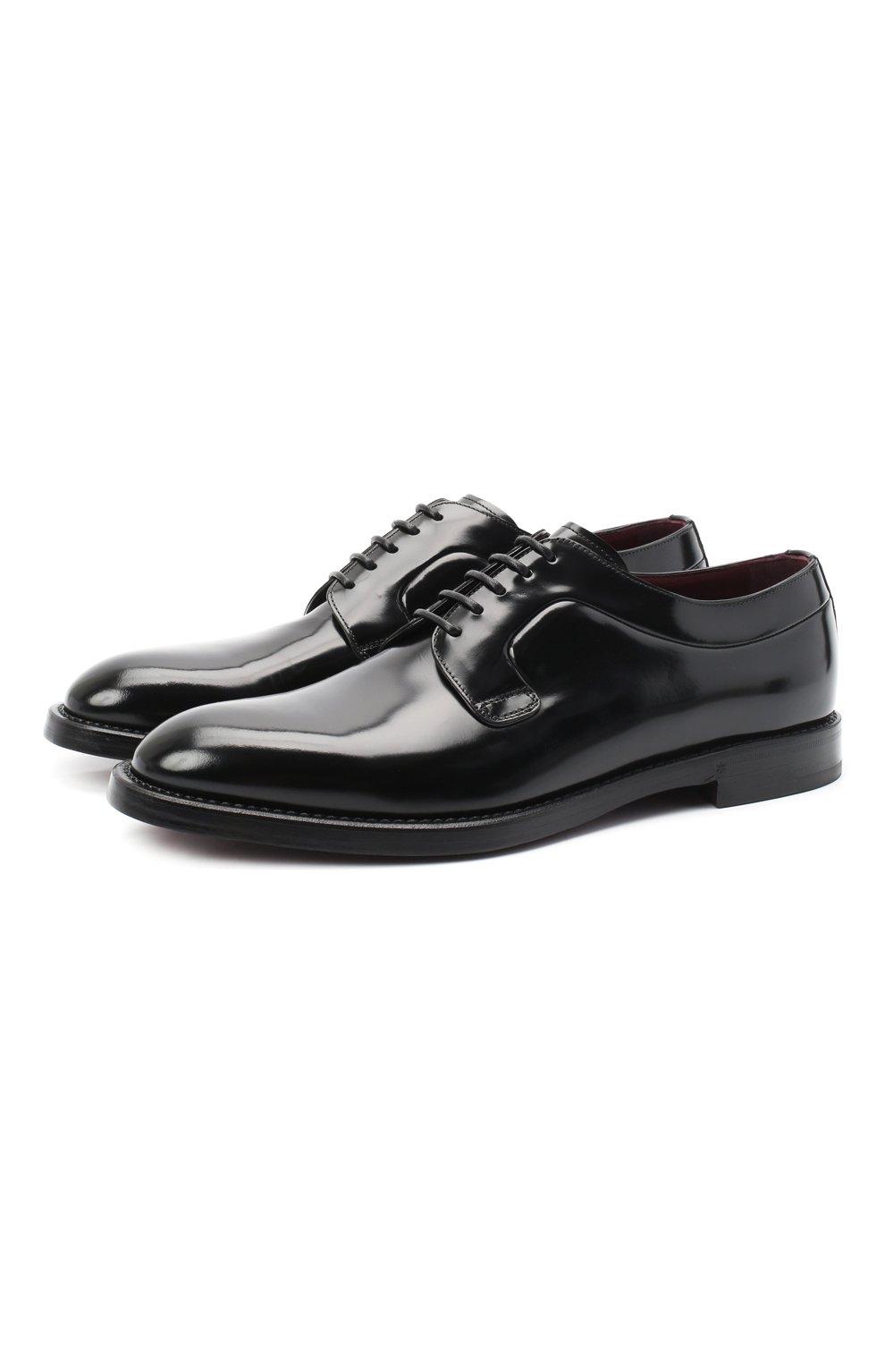 Мужские кожаные дерби DOLCE & GABBANA черного цвета, арт. A10650/A1203 | Фото 1