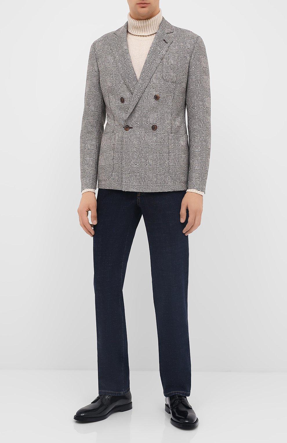Мужские кожаные дерби DOLCE & GABBANA черного цвета, арт. A10650/A1203 | Фото 2