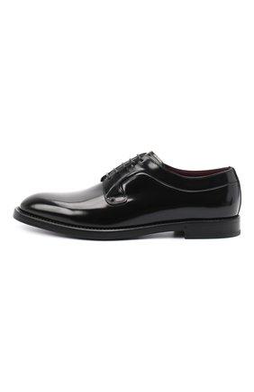 Мужские кожаные дерби DOLCE & GABBANA черного цвета, арт. A10650/A1203 | Фото 3