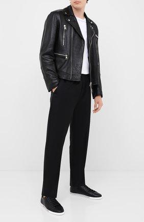 Мужские кожаные кеды saint tropez DOLCE & GABBANA черного цвета, арт. CS1735/A8M00 | Фото 2