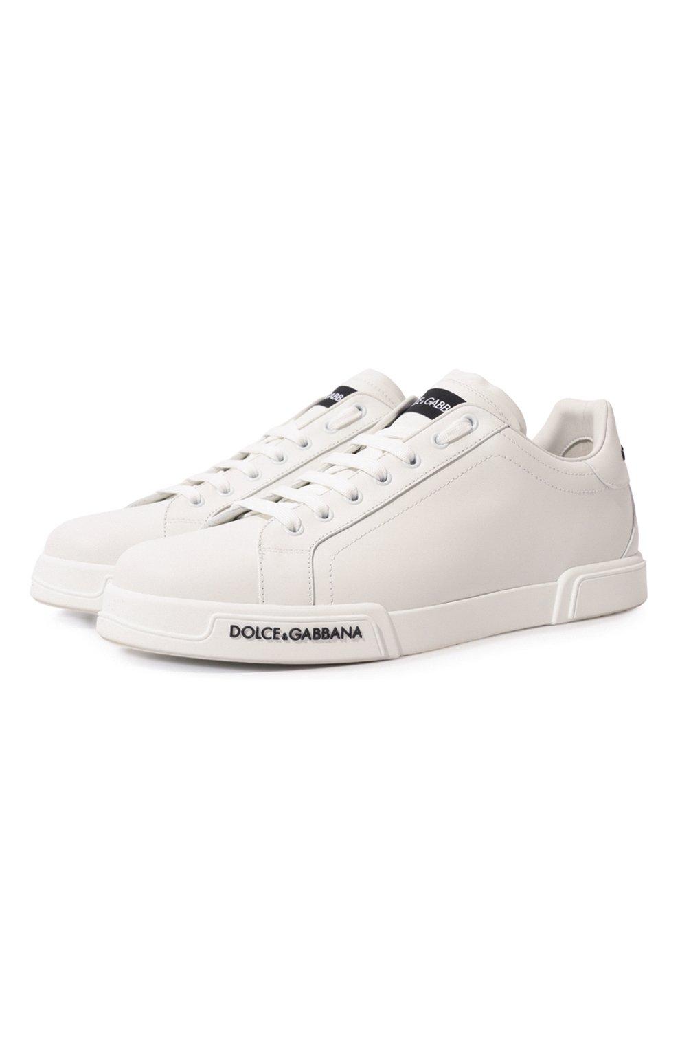Мужские кожаные кеды portofino DOLCE & GABBANA белого цвета, арт. CS1774/AA335   Фото 1 (Материал внутренний: Натуральная кожа; Подошва: Плоская)