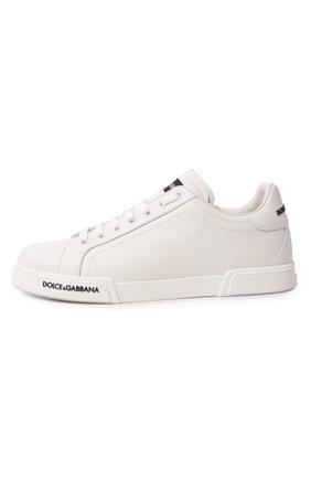 Мужские кожаные кеды portofino DOLCE & GABBANA белого цвета, арт. CS1774/AA335   Фото 4 (Материал внутренний: Натуральная кожа; Подошва: Плоская)