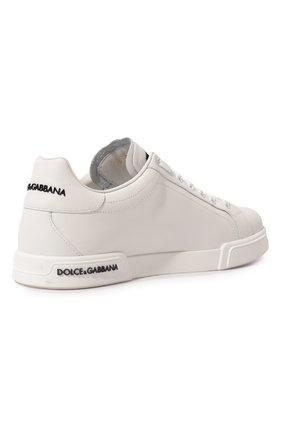 Мужские кожаные кеды portofino DOLCE & GABBANA белого цвета, арт. CS1774/AA335   Фото 5 (Материал внутренний: Натуральная кожа; Подошва: Плоская)