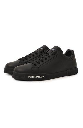 Мужские кожаные кеды portofino DOLCE & GABBANA черного цвета, арт. CS1774/AA335 | Фото 1