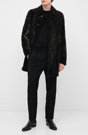 Мужская шуба из овчины YVES SALOMON темно-серого цвета, арт. 21WUM60390MERX | Фото 2