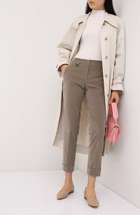 Женские хлопковые брюки LORENA ANTONIAZZI бежевого цвета, арт. A2044PA014/3068 | Фото 2