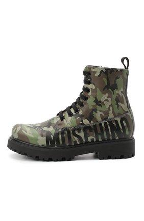 Детские кожаные ботинки MOSCHINO хаки цвета, арт. 65756/KIPS/36-41 | Фото 2
