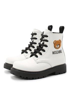Детские кожаные ботинки MOSCHINO белого цвета, арт. 65759/KIPS/18-27 | Фото 1