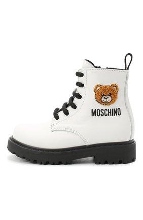 Детские кожаные ботинки MOSCHINO белого цвета, арт. 65759/KIPS/18-27 | Фото 2