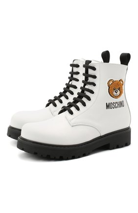 Детские кожаные ботинки MOSCHINO белого цвета, арт. 65759/KIPS/36-41 | Фото 1