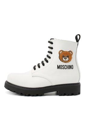 Детские кожаные ботинки MOSCHINO белого цвета, арт. 65759/KIPS/36-41 | Фото 2
