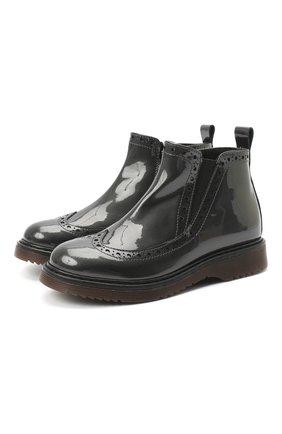 Детские кожаные ботинки MONTELPARE TRADITION серого цвета, арт. MT14127/PIUMA/18-27 | Фото 1