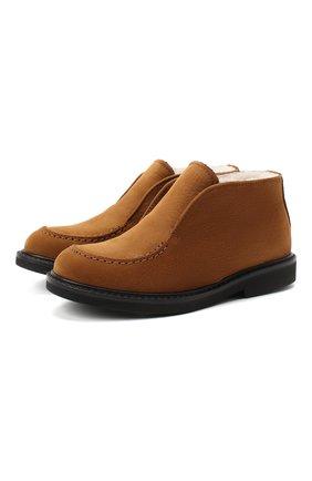 Детские кожаные ботинки MONTELPARE TRADITION коричневого цвета, арт. MT20061/M0RBID0NE/28-35   Фото 1 (Материал утеплителя: Натуральный мех)