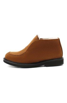 Детские кожаные ботинки MONTELPARE TRADITION коричневого цвета, арт. MT20061/M0RBID0NE/28-35   Фото 2 (Материал утеплителя: Натуральный мех)
