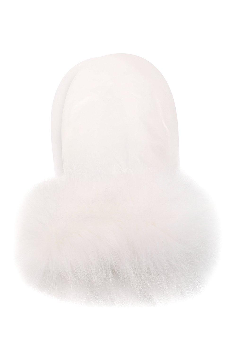 Детские пуховые варежки YVES SALOMON ENFANT белого цвета, арт. 21WEA016XXD0GW | Фото 1