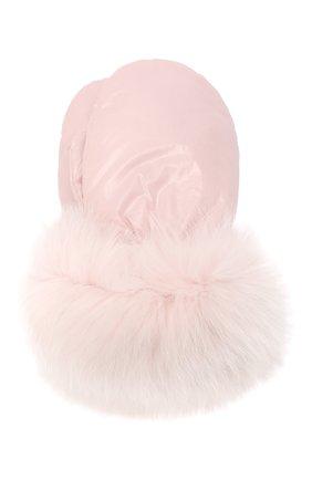 Детские пуховые варежки YVES SALOMON ENFANT розового цвета, арт. 21WEA016XXD0GW | Фото 1