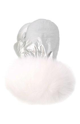 Детские пуховые варежки YVES SALOMON ENFANT серебряного цвета, арт. 21WEA016XXD0MW | Фото 1