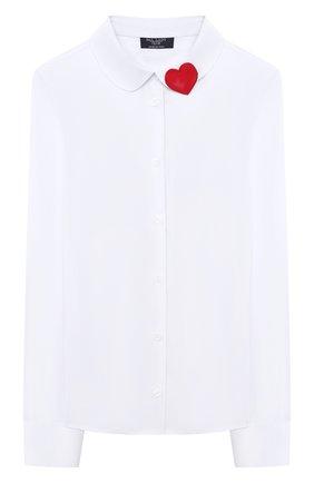Детское хлопковая блузка DAL LAGO белого цвета, арт. R406/7537/7-12 | Фото 1