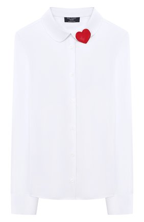 Детское хлопковая блузка DAL LAGO белого цвета, арт. R406/7537/13-16 | Фото 1