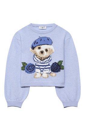 Детский пуловер MONNALISA синего цвета, арт. 196607 | Фото 1