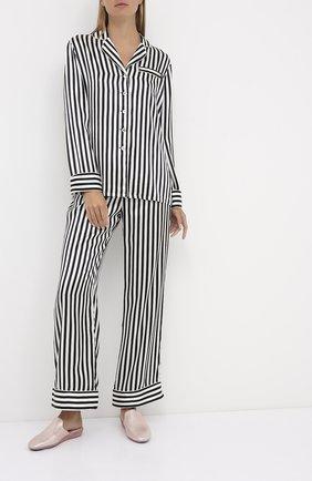 Женская шелковая пижама в контрастную полоску OLIVIA VON HALLE черно-белого цвета, арт. CT0006 | Фото 1