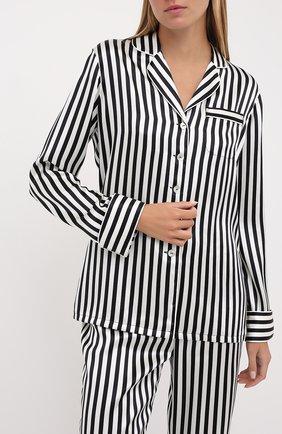 Женская шелковая пижама в контрастную полоску OLIVIA VON HALLE черно-белого цвета, арт. CT0006 | Фото 2