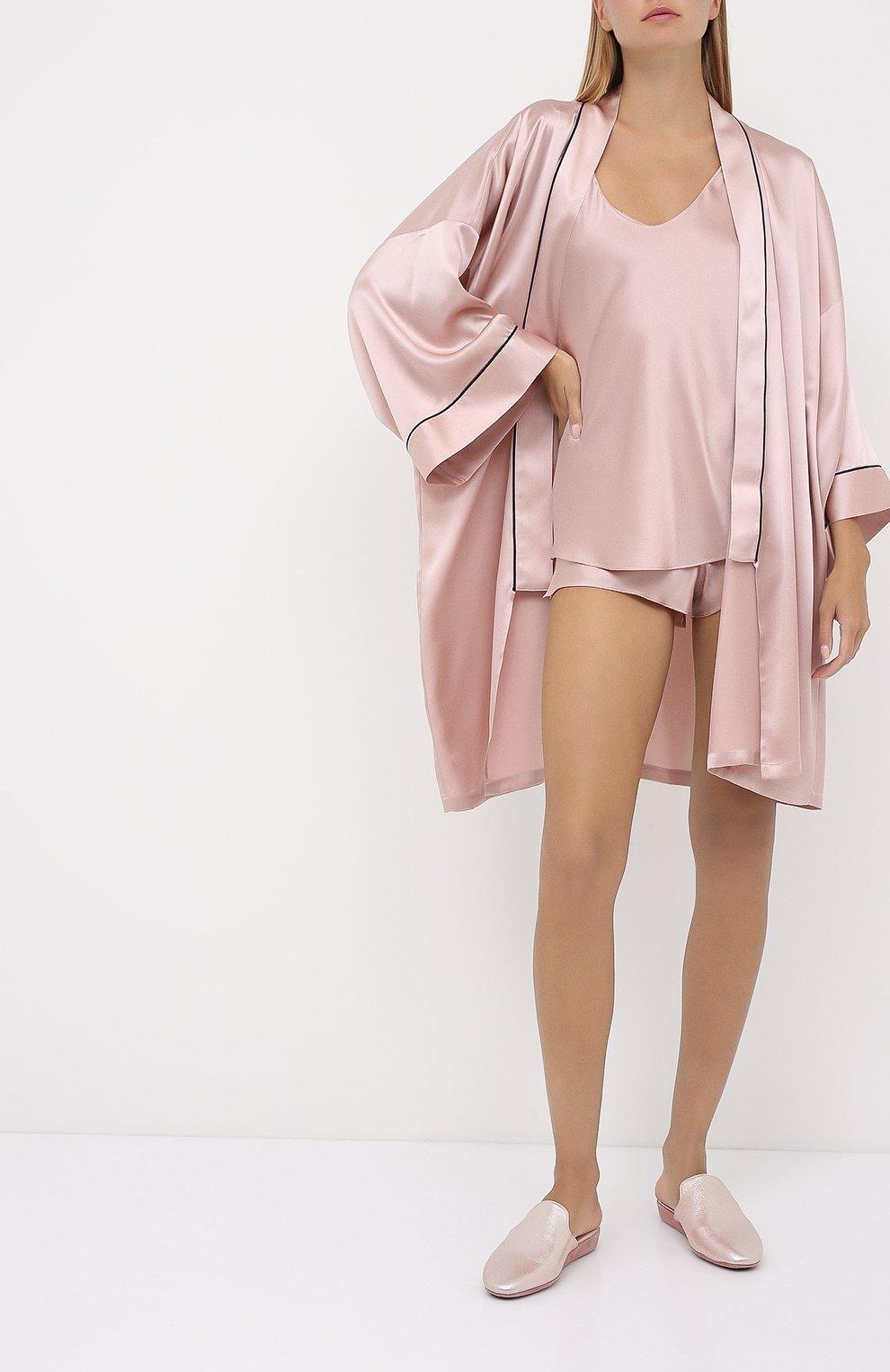 Женская шелковая пижама OLIVIA VON HALLE светло-розового цвета, арт. CT0022 | Фото 1 (Материал внешний: Шелк; Длина Ж (юбки, платья, шорты): Мини; Длина (для топов): Стандартные)