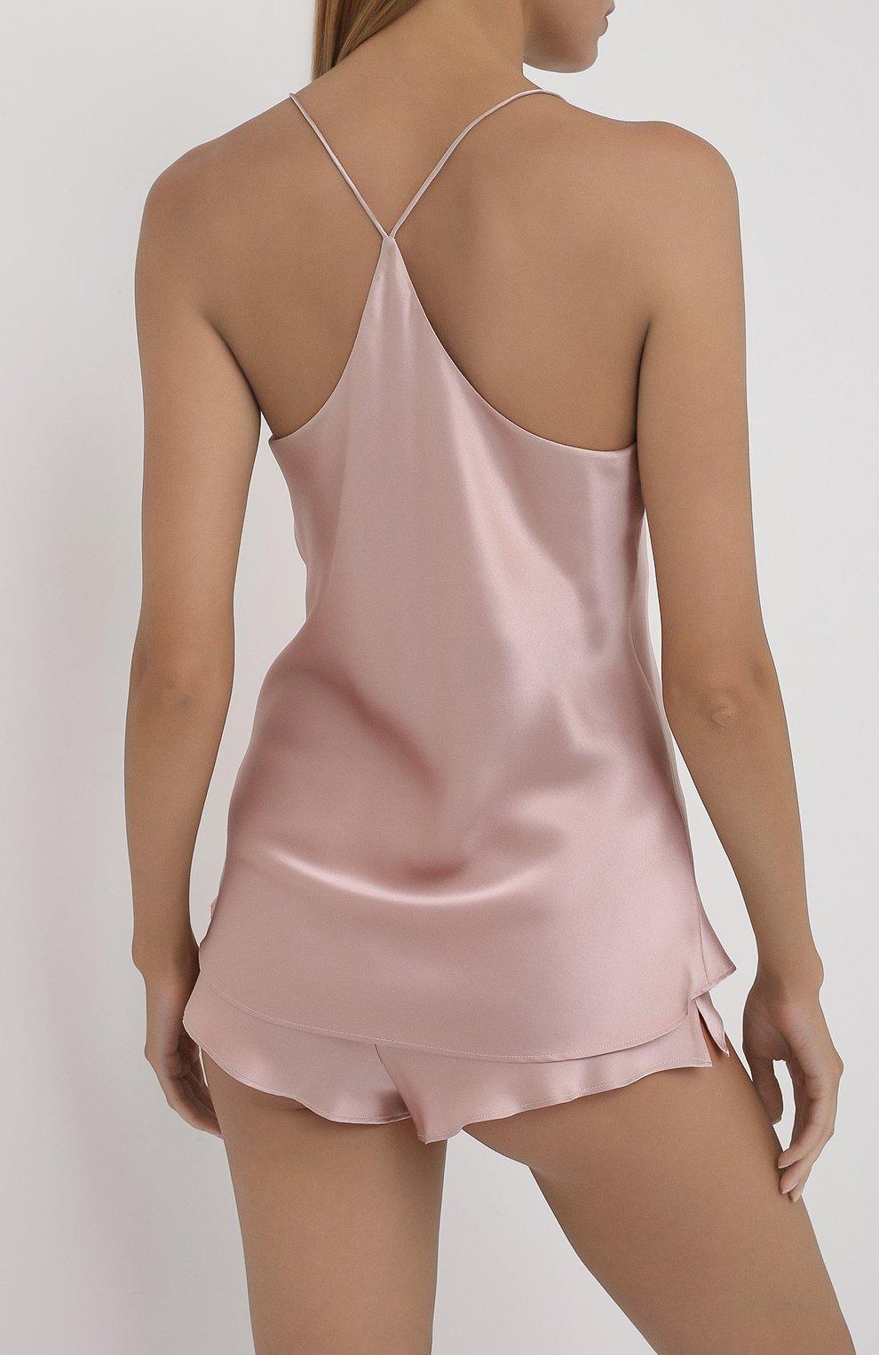 Женская шелковая пижама OLIVIA VON HALLE светло-розового цвета, арт. CT0022 | Фото 3 (Материал внешний: Шелк; Длина Ж (юбки, платья, шорты): Мини; Длина (для топов): Стандартные)