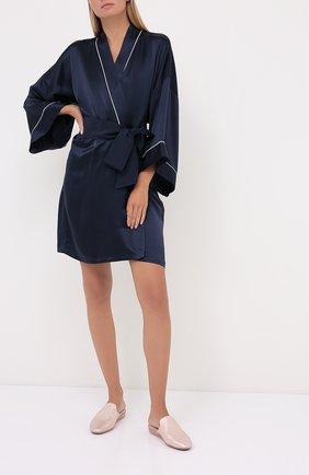 Женский шелковый халат OLIVIA VON HALLE синего цвета, арт. CT0019 | Фото 2