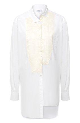 Женская хлопковая рубашка LOEWE белого цвета, арт. S359337XBR | Фото 1