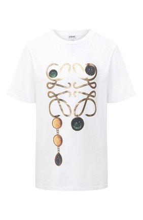 Женская хлопковая футболка LOEWE белого цвета, арт. S359333XBP | Фото 1