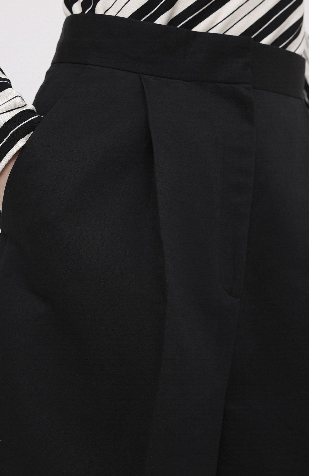 Женские кюлоты из льна и хлопка LOEWE черного цвета, арт. S359331XBE | Фото 5