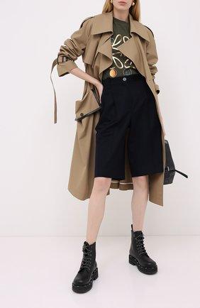 Женские шерстяные шорты LOEWE темно-синего цвета, арт. S359331XBB | Фото 2