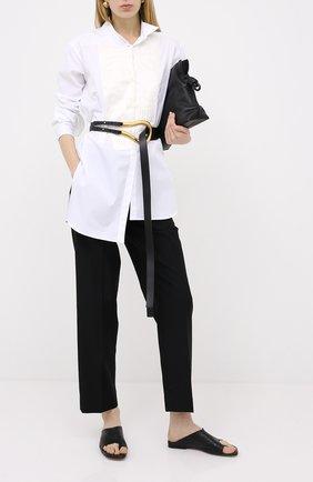 Женские шерстяные брюки LOEWE черного цвета, арт. S359331XAQ | Фото 2