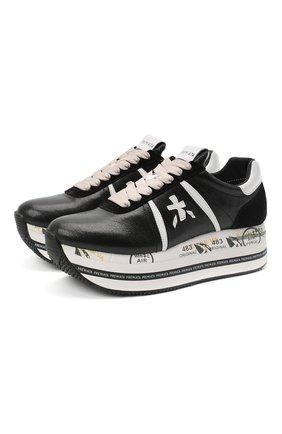 Женские кожаные кроссовки beth PREMIATA черно-белого цвета, арт. BETH/VAR4842 | Фото 1
