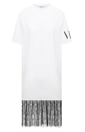 Женское хлопковое платье VALENTINO белого цвета, арт. UB3MJ01Z5TL | Фото 1