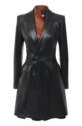 Женское кожаное пальто ALEXANDER MCQUEEN черного цвета, арт. 633559/Q5AEL | Фото 1
