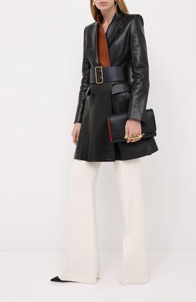 Женское кожаное пальто ALEXANDER MCQUEEN черного цвета, арт. 633559/Q5AEL | Фото 2