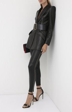 Женские кожаные леггинсы ALEXANDER MCQUEEN черного цвета, арт. 633546/Q5AEB | Фото 2