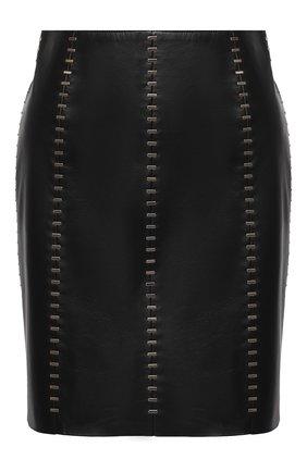 Женская кожаная юбка ALEXANDER MCQUEEN черного цвета, арт. 633543/Q5AD9 | Фото 1