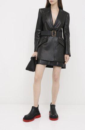 Женская кожаная юбка ALEXANDER MCQUEEN черного цвета, арт. 633543/Q5AD9 | Фото 2
