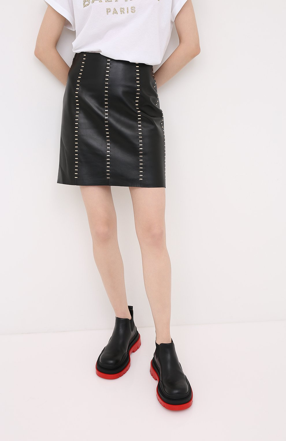 Женская кожаная юбка ALEXANDER MCQUEEN черного цвета, арт. 633543/Q5AD9 | Фото 3