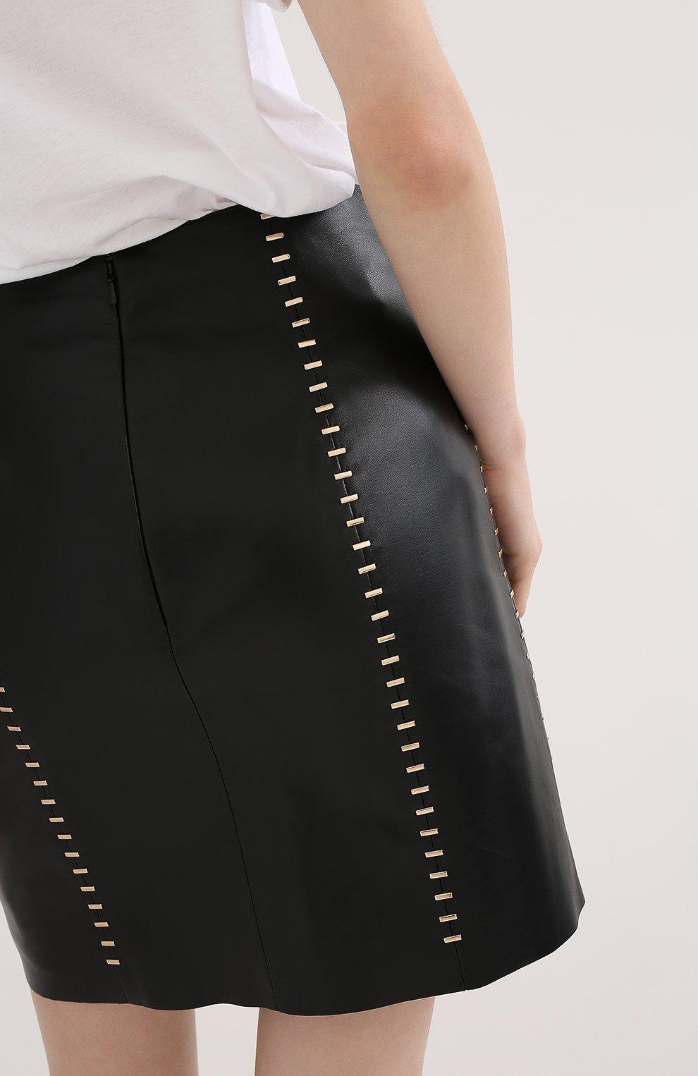 Женская кожаная юбка ALEXANDER MCQUEEN черного цвета, арт. 633543/Q5AD9 | Фото 5