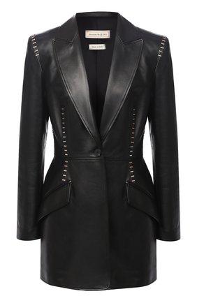 Женский кожаный жакет ALEXANDER MCQUEEN черного цвета, арт. 633542/Q5AD9 | Фото 1