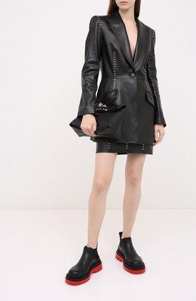 Женский кожаный жакет ALEXANDER MCQUEEN черного цвета, арт. 633542/Q5AD9 | Фото 2